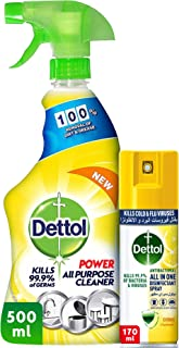 Dettol Lemon Healthy Home All Purpose Cleaner Trigger 500ml + Dettol Citrus Antibacterial All in One Disinfectant Spray Mi...