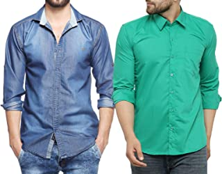 Finerbeast Cavender Combo Denim with Green Cotton Casual Shirt