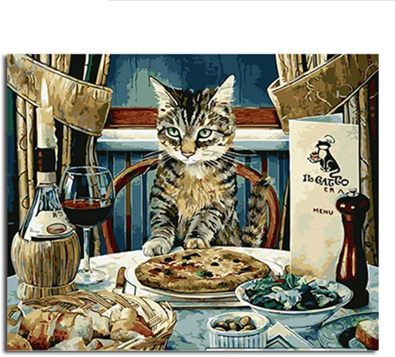 Waofe  Bild Moderne Gerahmte Bilder Malen Nach Zahlen Diy Ölgemälde Auf Leinwand Home Decor Of Cat B07PR3NPDX | Qualität und Quantität garantiert