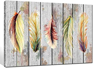 LevvArts - Vintage Canvas Prints Wall Art Color Free Fly Feather Painting on Canvas Abstract Indian Artwork for Living Room Bedroom Home Office Decoration Framed Ready to Hang