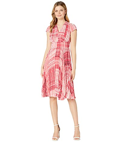 Maggy London Primavera Plaid Printed Chiffon Fit-and-Flare (Blush/Rouge) Women