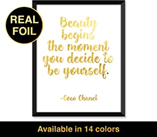 Serif Design Studios Coco Chanel - Beauty Begins, Real Gold Foil Print, Minimalist Poster, Home Decor, College Dorm Room Decorations, Wall Art