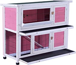 Lovupet 40inch 2-Story Wooden Rabbit Hutch Small Animal House Pet Cage Chicken Coop with Tray and Feed Trough 0323