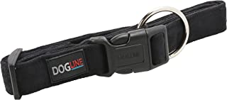 Dogline 15 to 25-Inch Comfort Microfiber Soft Padded Pet Puppy Dog Collar with Nylon Reinforcement, Large, 1-Inch Wide, Black