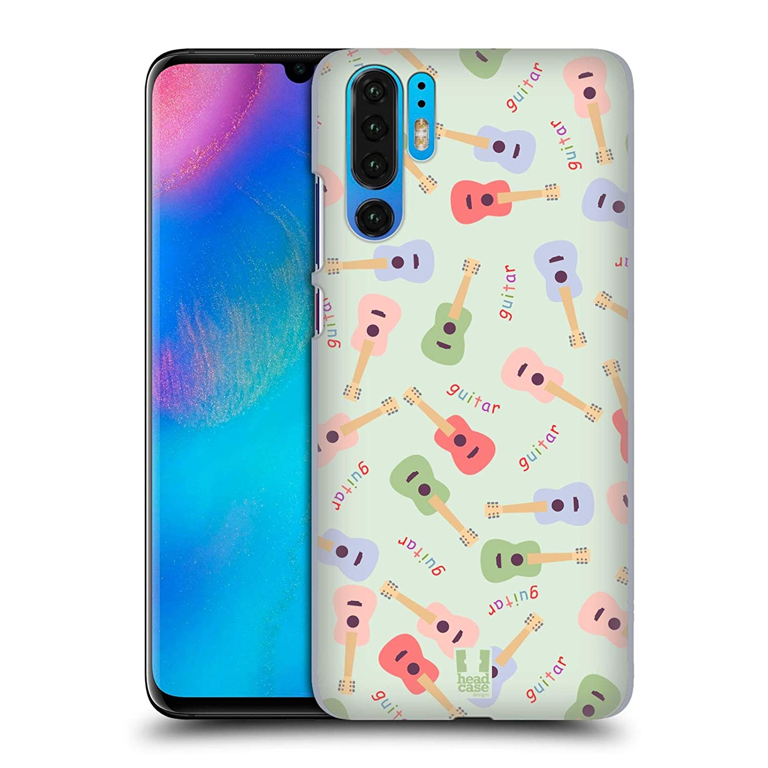 Head Case Designs Guitar Pajama Patterns - Musical Intruments Hard Back Case Compatible for Huawei P30 Pro