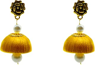 Silk Thread Jhumki with Pearls Designer Rose Stud Earrings in Different Colors