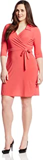 Women's Plus-Size 3/4 Sleeve Fauxwrap Dress with Collar