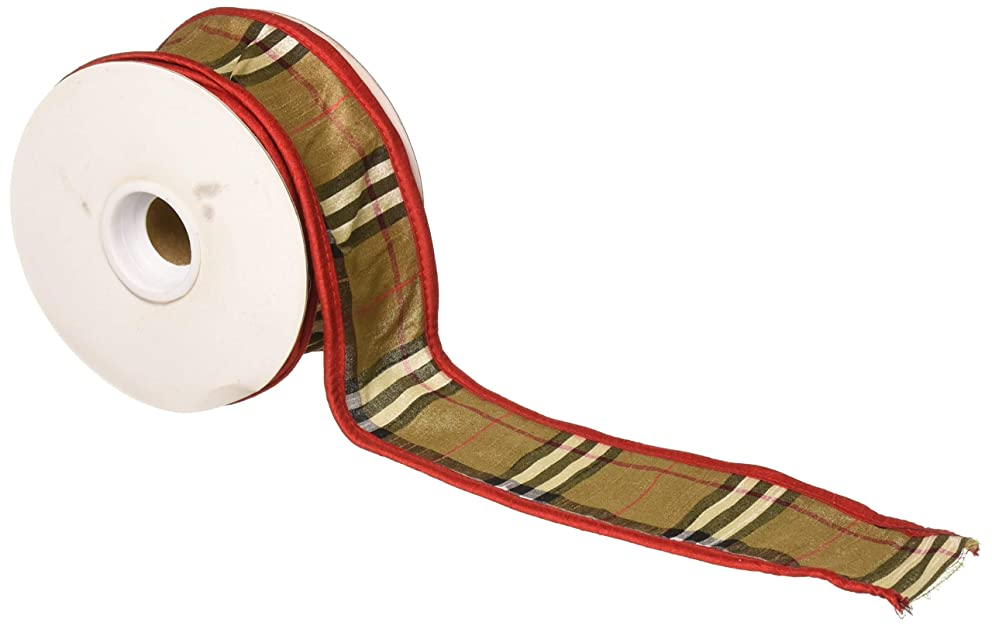 Reliant Ribbon Burbank Plaid Border Wired Edge Fabric Ribbon, 2-1/2 Inch X 10 Yards, Brown