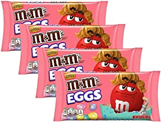 M&Ms Peanut Butter Chocolate Eggs Easter Candy - Pack of 4 Bags - 9.2 oz Per Bag - 36.8 oz Total of Bulk Peanut Butter M&Ms Easter Eggs