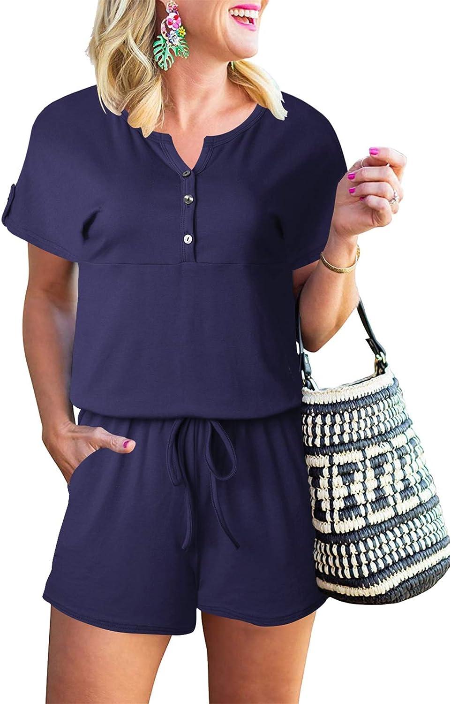 Prinbara Womens Summer Short Sleeve Button Down Short Jumpsuit Romper with Pockets