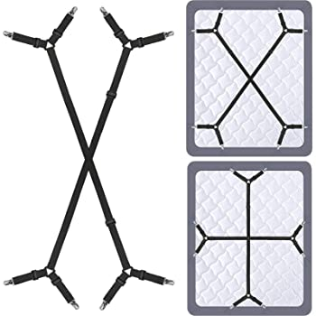 Bed Sheet Fasteners Suspenders Holder Straps - Adjustable Crisscross Elastic Band Fitted Bed Sheet Holder Fasteners Grippers Clip,2pcs/Set Black