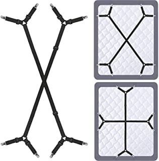 Siaomo 4 Pcs Triangle Sheet Fasteners and Crisscross or Straight Bed Sheet Holders Straps, Fabric, Black, 2 Pcs Crisscross...