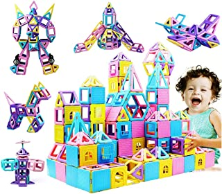 مجموعة مكعبات البناء المغناطيسية من مجموعة إنفينيتو المكونة من 146 قطعة ، تحتوي على كتيب عجلة فيريس للأولاد والبنات