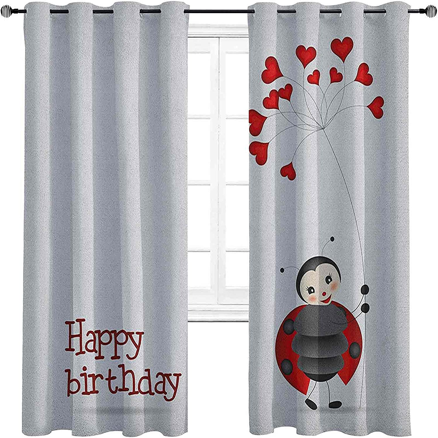 Kids Birthday High-Strength Excellent Blackout Ladybug Weekly update Wings Curtains Flo