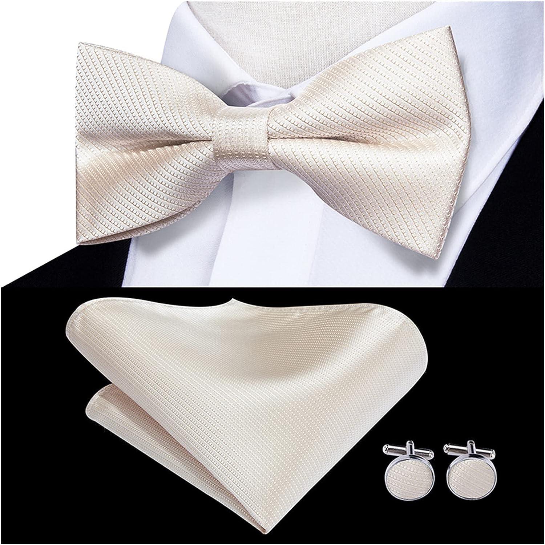 Bow tie Handkerchief Cufflinks Three-Piece Suit Ties for Men Neckwear Bowtie Pocket Square Cufflinks Set Cream White Wedding Mens Bowtie