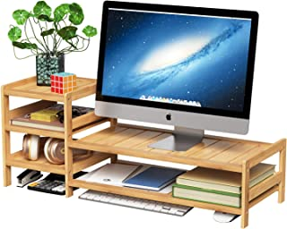 HOMECHO Bamboo Monitor Stand, 2 Tier Desktop Riser, Wood Laptop Shelf with Storage Organizer and Accessories for Computer Cellphone TV Printer Home and Office, Natural
