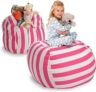 comprar comparacion Puf de almacenaje para rellenar con peluches, de la marca Smith's, algodón, White & Pink (Stripes), 40