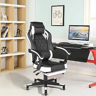 FurnitureR Silla de juego con reposapiés Silla de oficina Silla de computadora con respaldo alto Silla de escritorio de cu...