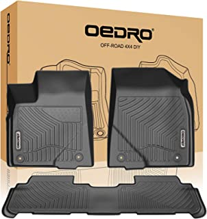 oEdRo Floor Mats Compatible for 2014-2019 Toyota Highlander,Unique Black TPE All-Weather Guard Includes 1st and 2nd Row: Front, Rear, Full Set Liners