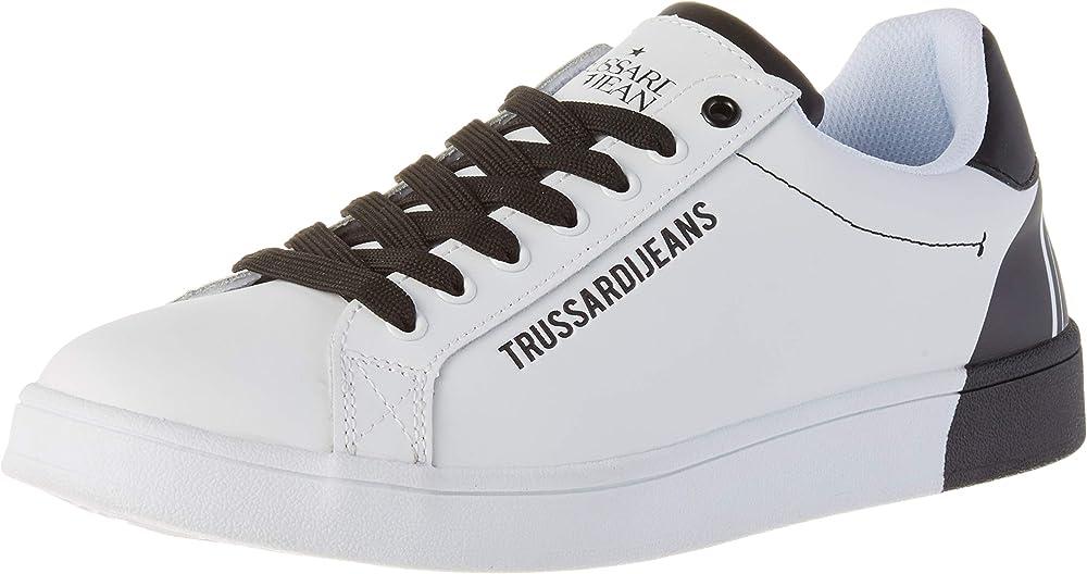 Trussardi jeans, sneakers, leather printing, scarpe con lacci uomo,in pelle 5463_6-613,8-532