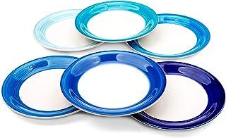Reomore 10.4 inch Dinner Plate Set, 6-pack Ceramic Pasta/Salad/Dessert Plate Dishwasher Microwave Freezer Safe Hand-painte...