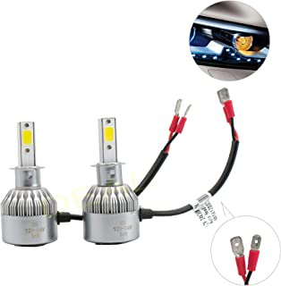 DEAL 2pcs H3 6000K White 7200LM Aluminum Housing LED COB Bulbs Conversion Kit For Headlights High Low Beam Driving Fog Light DC 12V/24V IP67 Waterproof Pack of 2 Left+Right Replacement
