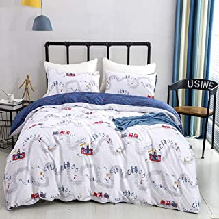 karever Boys Duvet Cover Set Queen Kids Thomas Train Travel Theme Bedding Set Full Cotton Children Teen Boy 3 PCs Comforter Cover Set