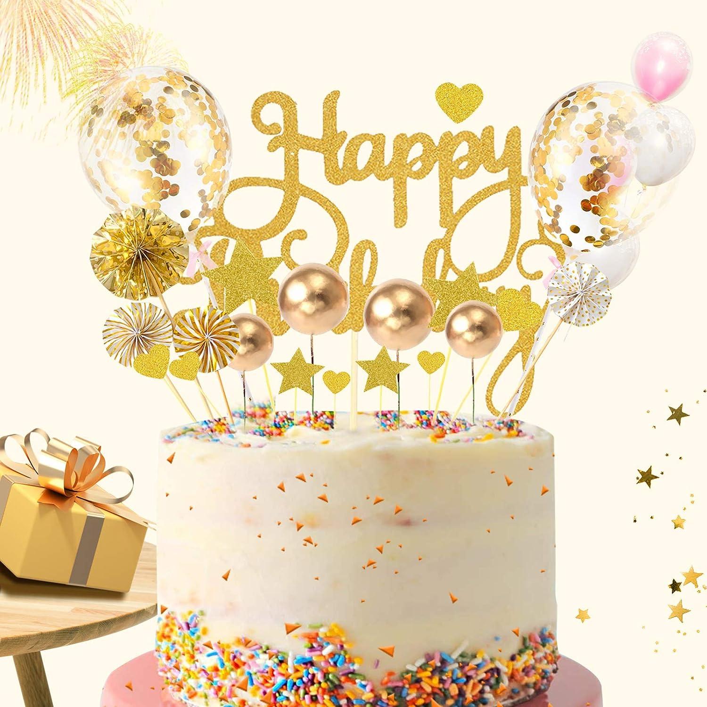 Tortendeko Gold,Kuchen Topper,Kuchendekoration,Geburtstag Torte Topper,Cake Topper,Happy Birthday Kuchendeko,Kuchen Deko f/ür Geburtstag mit Sternen,Konfetti Ballon,Liebe und Papierf/ächer