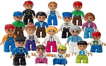 Play Build Figuras de la Comunidad Conjunto - Kit de Inicio a Granel Incluye policía, Granjero, Bomberos y niños - 16 Piezas Mini Figuras
