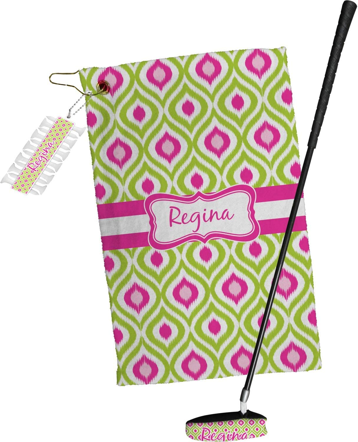 YouCustomizeIt Ogee Ikat Golf Personalized trust Gift Year-end annual account Towel Set