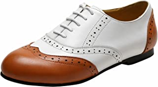 Lady's Two Tone Genuine Leather Perforated Wing Tip Lace Up Flat Oxfords, Spring Summer Shoes