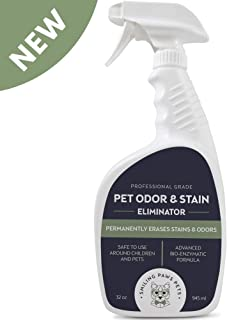 Smiling Paws Pets Stain and Odor Eliminator, Professional Enzyme Pet Odor and Stain Remover, Erase Dog and Cat Urine, Feces and Vomit Stains from Wood Floors, Carpets, Upholstery, Rugs & More (32 Oz)