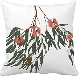 Awowee 16 x 16 Inch Throw Pillow Cover Eucalyptus Gum Leaves and Flowers Botanical Floral Illustration Summer Beacn Home Decor Pillowcase Square Pillow Case Cushion Cover for Sofa Bed