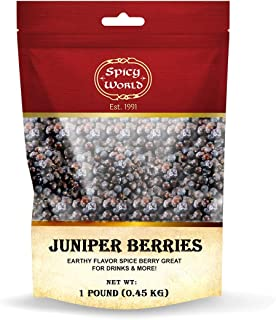 Spicy World Juniper Berries Whole 1 Pound Bag- Pure - Great for Cooking, Drinks, Tea & More! (16 Ounces)