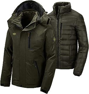 Wantdo Men's 3 in 1 Down Jacket Mountain Waterproof Ski Jacket Warm Winter Rain Coat