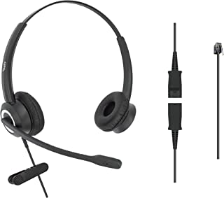 DailyHeadset RJ9 Corded Office Phone Noise Canceling Headset MITEL Nortel Meridian Polycom Packet 8 ShoreTel Xblue Landline Telephone (Binaural)