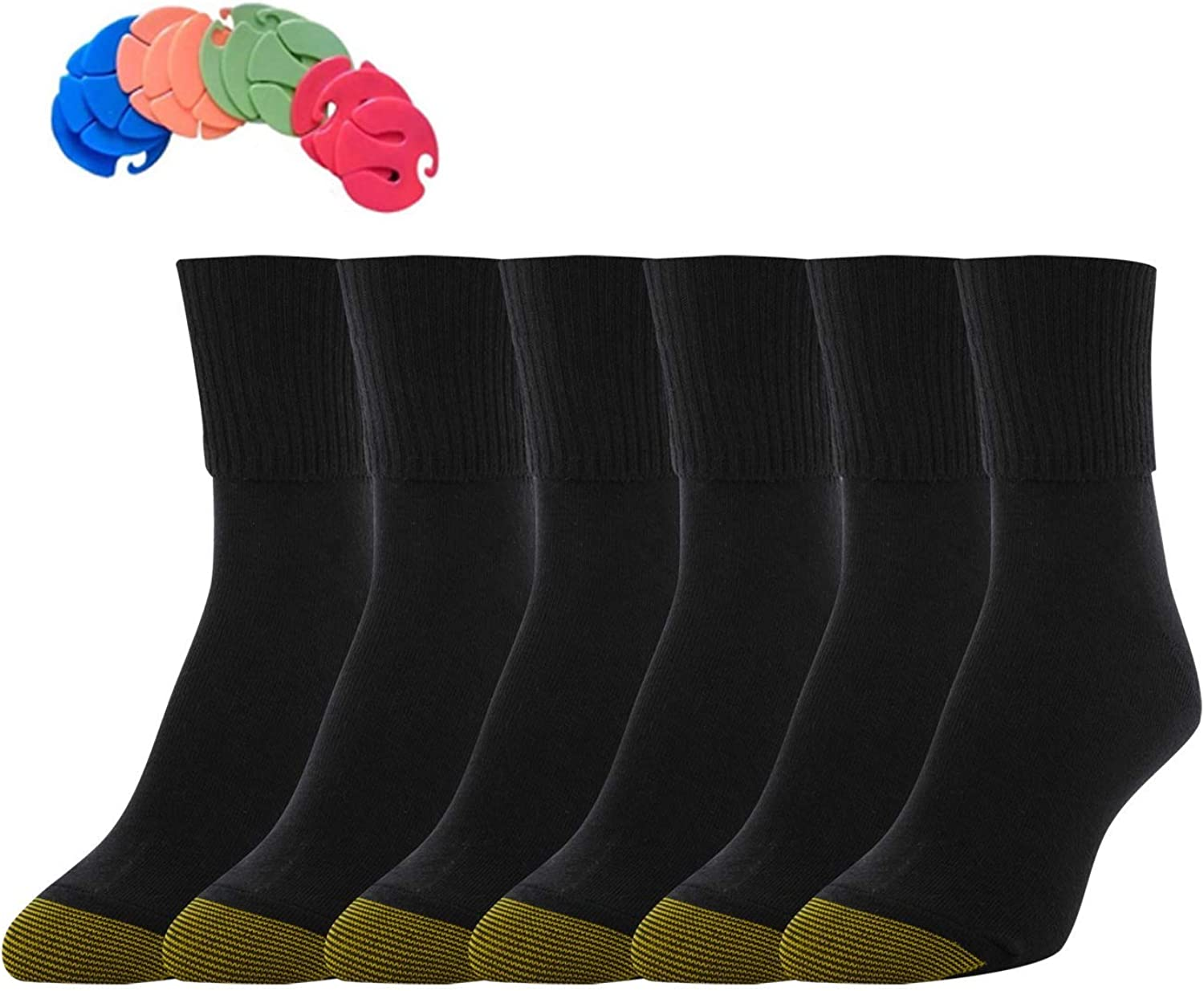gold Toe Women's 12 Pack Turn Cuff Socks 12 Free Sock Clips Included ( 10 Value)