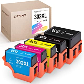 ZIPRINT Remanufactured Ink Cartridge Replacement for Epson 302 XL 302XL T302XL Ink for Epson XP-6000 XP-6100 Printer (1 Black 1 Photo Black 1 Cyan 1 Magenta 1 Yellow, 5-Pack)