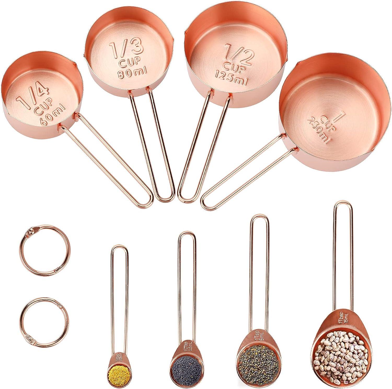 Bestcool - Cucharas medidoras y cucharas de Acero Inoxidable con Regla de Marcado grabada para medir Ingredientes Secos y líquidos para Hornear, Mezclar y procesar Alimentos (8 Unidades)