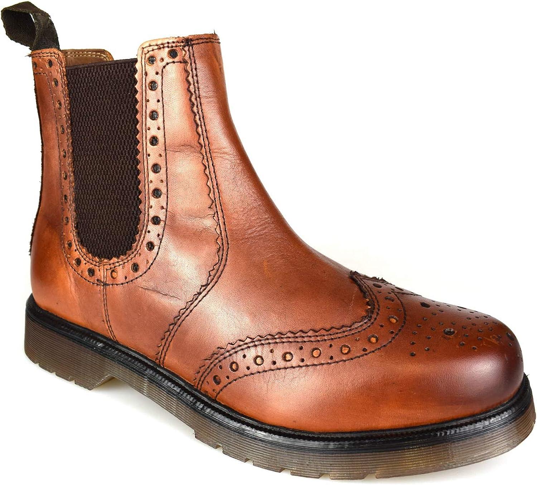 Premium Mens Tan Brown Leather Dealer Boots CX02C