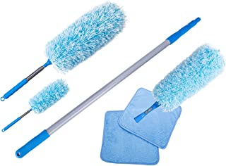 Extendable Cleaning Microfiber Fluffy Duster set with telescopic Pole, Washable fluffy Duster for high reach ceiling fan, Office and Car, (set of 6 including: 3 X Extendable dusters,1 X Extendable ab