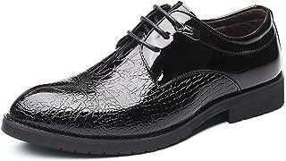 DADIJIER Oxfords Vestido Zapatos para Hombres Cocodrilo Patente Enmarcado Patente De Cuero De 3 Ojos Encaje De Cuero Grues...