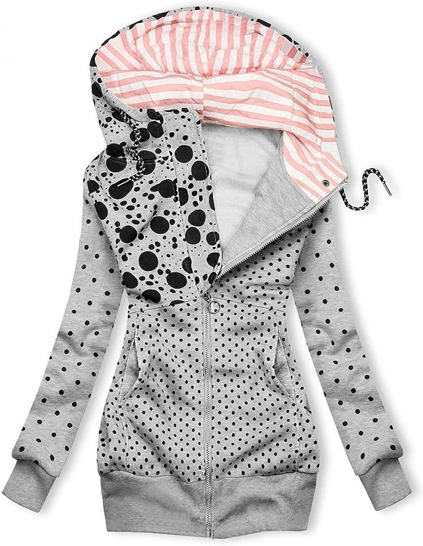 YRAETENM Zip Up Hoodies for Women Long Sleeve Tops High Neck Jacket Pockets Warm Autumn Loose Coats Outerwear
