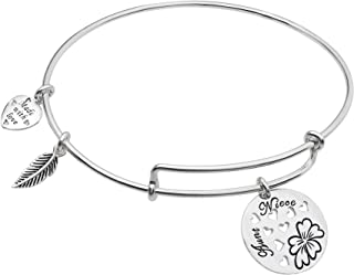Sterling Silver Aunt Niece Heart Family Dangle Charm Expandable Bangle Bracelet
