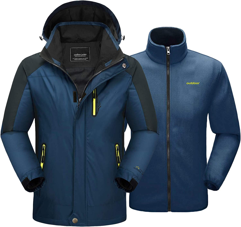 TACVASEN 3 in 1 Giacche Uomo Impermeabile Outdoor Giacca Inverno Escursionismo Giacche In Pile Sci Giacche Con Cappuccio