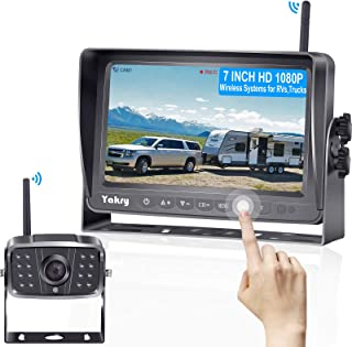 Yakry Y27 HD 1080P Wireless Backup Camera with 7 Inch DVR Monitor IPS Split Screen High-Speed Rear View Observation System... photo