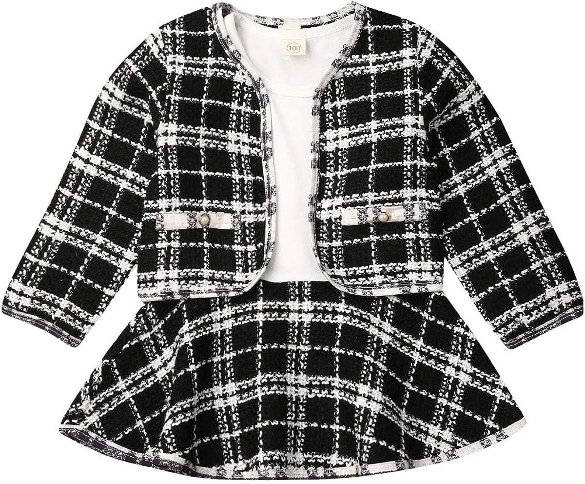 Toddler Girls Winter Outfits Long Sleeve Plaid Jacket Coats Tops Tutu Dress Skirt Party Dress Coat Sets