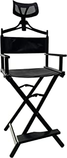 Jula Vance Foldable Tall Black Aluminum Professional Cosmetic Make-up Chair Director Chair Pro Makeup Artist Chair with Headrest