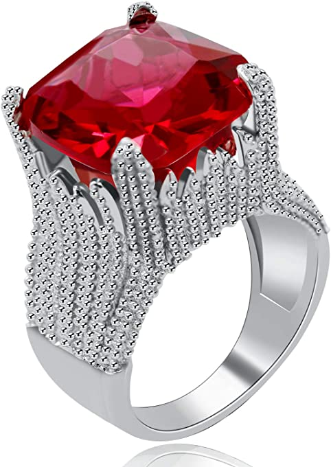 Uloveido Silver Color Large Red Square Crystal Ring for Women Big Cubic Zirconia Wide Wedding Bands Cocktail Ring Fashion Party Prom Bridal Jewelry Gifts for Women Girls (Size 9) RA0414