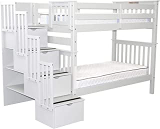 Bedz King Tall Stairway Bunk Beds Twin over Twin with 4 Drawers in the Steps, White